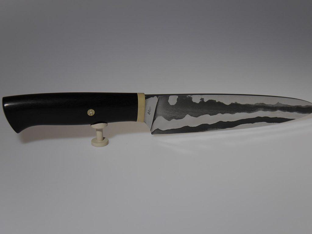 Küchenmesser Ebenholz mit einfache Damastklinge